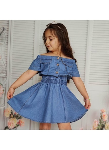 Quzucuk Kids Kız Çocuk Omuz Yaka Detaylı Etekli Kot Takım Mavi